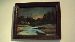 Naplemente a fák mögött.-RÉGI festmény,régi kerettel,1925-ből.---Novák Iréne szignóval