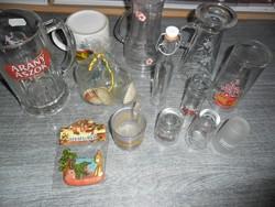 Feliratos üveg korsók,bögrék,poharakstb.ajándék hűtőmágnessel