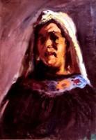Holló László (1887-1976) : Asszony kendőben