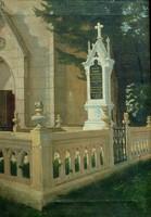 LOVAS LAJOS /1866 - 1935/: Templom kert részlet, síremlékkel