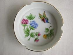 Hollóházi porcelán hortenzia mintás hamutartó hamutál