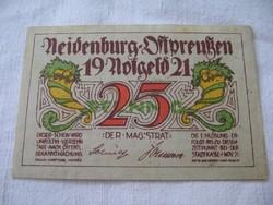 25 Pfennig 1921 Neindenburg Hajtatlan