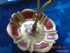 Barokk vörös-arany- faragott,aranyozott fa kínáló-díszes fogóval-jelzett-24x20x4,5 cm