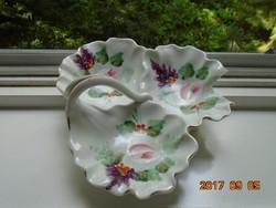 ANTIK szecessziós különleges kínáló,3 kagyló virágszál fogóval rózsa és levendula mintával festett