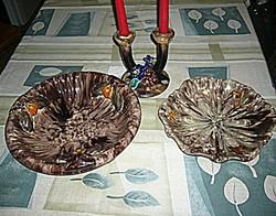 3 db régi osztrák majolika kínáló asztalközép gyertyatartó