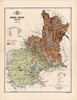 Bereg megye térkép 1886, Magyarország, vármegye, atlasz, Kogutowicz Manó, 43 x 56 cm, eredeti