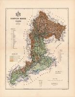 Zemplén megye térkép 1888, Magyarország, vármegye, atlasz, Kogutowicz Manó, 43 x 56 cm, eredeti