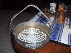 Szeccesziós  ezüstözött fém kináló