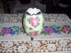 Keménycserép rózsás tojás alakú váza