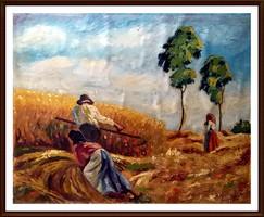 Kuriózum kedvelőknek - Hegedűs ( 1938 )szignóval - Aratók ( olajfestmény)