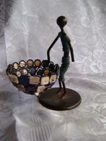 Art deco stílusú fémből és Abalone kagylóból készült ékszertartó különlegesség