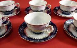 Zsolnay Pompadour II. kávés csésze+tányérja 6 db.