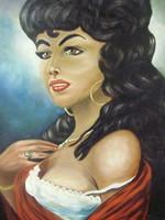 Erotikus olaj festmény arany keretben,Carmen,cigánylány,80x68cm