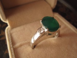 GYÓGYÍTÓ ZÖLD AGATE 925 ezüst gyűrű