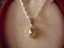 Szuper elegáns ezüst medál és nyaklánc aranyszínű citrin