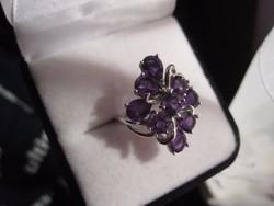 Dús ametiszt köves ezüst 925 gyűrű