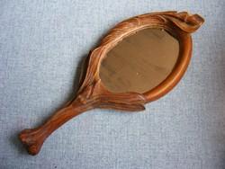 Antik faragott fa kézi pipere tükör