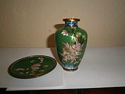 2 db Rekesz (Cloissoné) zománc váza + tálka