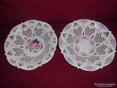 2db porcelán csipkés kínáló/dísztál