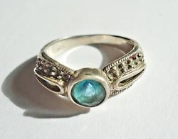 Kék csiszolt köves ezüst gyűrű