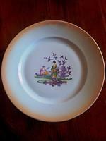 Egyedi jelzéssel, jelenetes antik Zsolnay porcelán lapos tányér