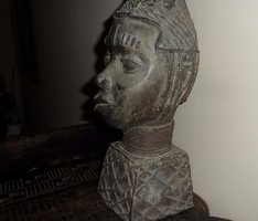 AFRIKAI BRONZ SZOBOR FEJ , BENIN