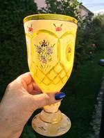 Bieder üvegkehely kupa  hántolt üveg kézzel festett 20cm magas.