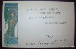 Mucha litho Gismonda 1899. szecessziós képeslap, küldte Párizsból Eugenie Munk