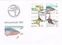 Svájci bélyeg sor első napi bélyegzéssel 1997-ből