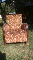 Art deco szép vastag hajlított fás antik fotel szép erezet fával rugós üléssel