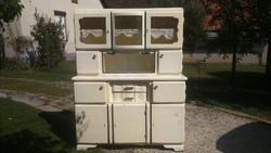 Nagyon szép megkímélt  mintás üveges régi kredenc / konyhaszekrény