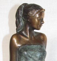 """Czobor Sándor """"Lány féltérden"""" c. bronz kisplasztikája eladó certifikációval (ingyenes postázás)"""