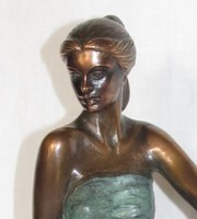 """EREDETISÉGIGAZOLÁSSAL! Czobor Sándor """"Támaszkodó lány"""" c. bronzszobra eladó! INGYEN POSTA!"""