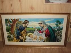 Vallásos kép nyomat keretben korának megfelelő állapotban.