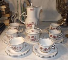 Hollóházi barokkos  kávés készlet ritka mintával