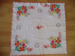 Nicely embroidered Kalocsai large tablecloth 75x75 cm handwork original motif and color