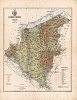 Somogy megye térkép 1886, Magyarország, vármegye, atlasz, Kogutowicz Manó, 43 x 56 cm, eredeti