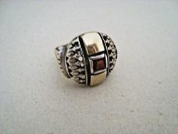 Izraeli ezüst gyűrű  gránáttal és 9K arany berakással
