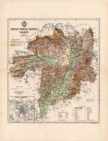 Abaúj - Torna megye térkép 1888, Magyarország, vármegye, atlasz, Kogutowicz Manó, 43 x 56 cm, Kassa