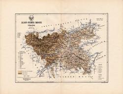 Alsó - Fehér megye térkép 1888, Magyarország, vármegye, atlasz, Kogutowicz Manó, 43 x 56 cm, eredeti