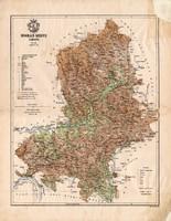 Nógrád megye térkép 1886, Magyarország, vármegye, atlasz, Kogutowicz Manó, 43 x 56 cm, eredeti