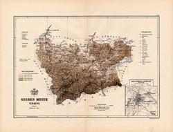 Szeben megye térkép 1889, Magyarország, vármegye, atlasz, Kogutowicz Manó, 43 x 56 cm, Nagyszeben