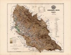 Máramaros megye térkép 1888, Magyarország, vármegye, atlasz, Kogutowicz Manó, 43 x 56 cm, eredeti