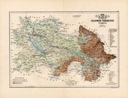 Szatmár vármegye térkép 1889, Magyarország, megye, atlasz, Kogutowicz Manó, 43 x 56 cm, eredeti