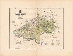 Csanád megye térkép 1889, Magyarország, vármegye, atlasz, Kogutowicz Manó, 43 x 56 cm, eredeti