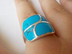 Türkiz köves masszív ezüst gyűrű 925.