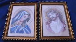 Jelzett Mária és Jézus festmény párban.