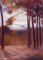 Európai festő 1900 körül : Fák a domboldalon