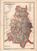 Krassó - Szörény megye közigazgatási térképe 1880, vármegye, eredeti, antik, régi, térkép