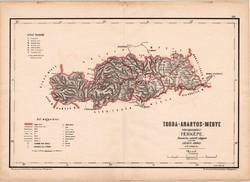 Torda - Aranyos - megye közigazgatási térkép 1880, vármegye, eredeti, antik, régi, XIX. század